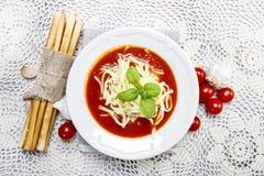 Top view of tomato soup Stock Photos