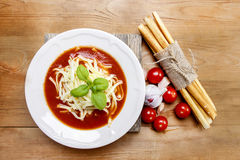 Top view of tomato soup royalty free stock photography