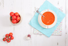 Top view of tomato soup on the white table Stock Photo