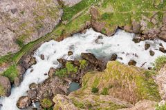 Top view of a torrent in the mountain, The Alps, Aosta Valley Italy Stock Image