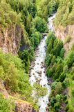 Top view of a torrent in the mountain, The Alps, Aosta Valley Italy Royalty Free Stock Images