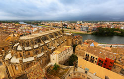 Top view of Tortosa with Cathedral from castle Royalty Free Stock Photos