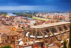 Top view of Tortosa with Cathedral from Suda castle Royalty Free Stock Images
