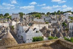Top view on the town of Alberobello in Puglia, Italy Royalty Free Stock Images