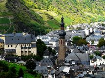 Top view of town Cochem in the wine valley of the Moselle royalty free stock photography