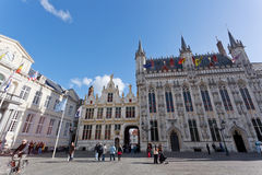 The top view on the Town hall, Bruges Stock Photo