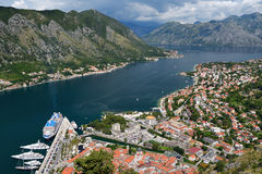 Top view on town Kotor and Bay of Kotor Stock Photography