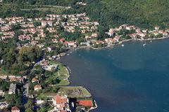 Top view of the town of Kotor and the village of Muo. Montenegro Stock Photos