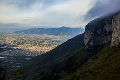 Top view of a town near vesuvius volcano road to sorrento town s Royalty Free Stock Photography