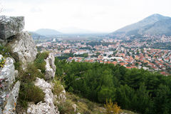 Top view of the town of Trebinje Stock Image
