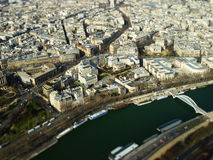 Top view of toy town Paris. The  photo show the Paris with tilt-shift filter Stock Images