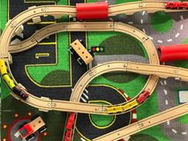 Top view of toy wood train and rail. Set, education and transportation concept royalty free stock image