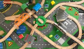 Top view of toy wood train and rail. Set, education and transportation concept stock image