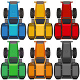 Top view of tractors in different colors Stock Photo