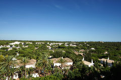 Top view of the tradional luxury villas with green garden Stock Photos