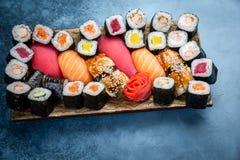 Big set of colorful sushi rolls royalty free stock photo