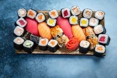 Big set of colorful sushi rolls stock photo