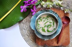 Top view of Traditional Dessert Cendol woth Space for Text. Top view of traditional dessert Cendol with space for text on background royalty free stock photo