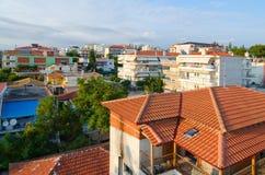 Top view of traditional Greek low-rise buildings, Nea Kallikrati Stock Image
