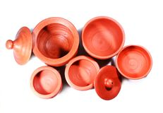 Top view of traditional home made clay pots and bowls Stock Images