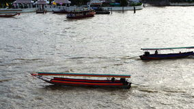 Top view traffic on the Chao Phraya river Bangkok Thailand stock video footage