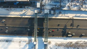 Top view of traffic on a freeway. Aerial. stock video