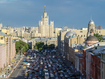 Top view of traffic jam in big city Moscow Royalty Free Stock Photography