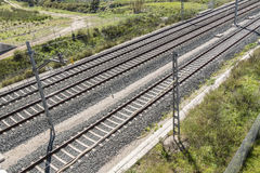 Top view of the train tracks Stock Photography