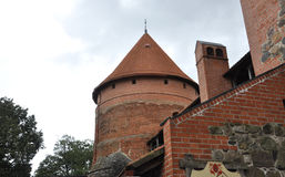 Top view of Trakai Castle from Island Trakai in Lithuania Stock Image