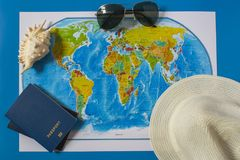 Top view of the travel accessories card. stock photos