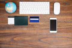 Top view of a travel agent's desk Royalty Free Stock Photo