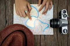 Top view travel concept with other items on wooden background stock image