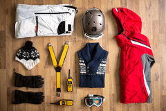 Top view travel items on the floor Stock Images