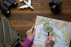 Top view of a travel set with copy space Stock Photography