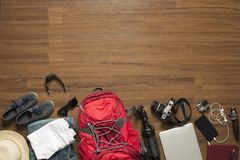 Top view of traveler accessories Stock Photos