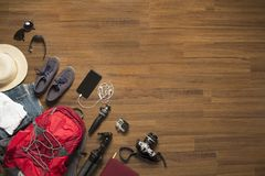 Top view of traveler accessories Stock Images
