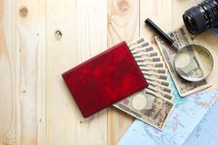 Top View Of Traveler`s Accessories Along For The Trip On Wooden. Table, Essential Vacation Items, Travel And Vacations Concept For Background Royalty Free Stock Photo