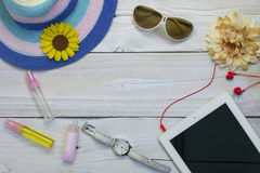 Top view of traveler`s outfits,Summer holiday background, Beach Royalty Free Stock Photography
