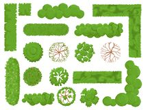 Free Top View Trees And Bushes. Forest Tree, Green Park Bush And Plant Map Elements Look From Above Isolated Vector Set Royalty Free Stock Image - 140269846