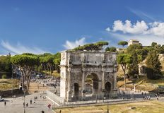 Top view on triumphal arch of Constantine, Rome. Italy Stock Images