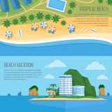 Top view of a tropical beach. Palm trees, umbrellas and lounge c. Hairs on the beachfront. Summer holiday. Vector Illustration, flat design style stock illustration