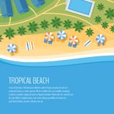 Top view of a tropical beach. Palm trees, umbrellas and lounge c. Hairs on the beachfront. Summer holiday. Vector Illustration, flat design style royalty free illustration