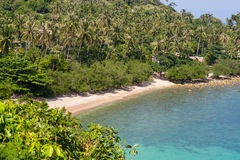 Top view on the tropical beach scenery in Thailand, Phangan. White sand Stock Image