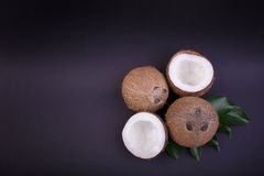 Top view of tropical coconuts with green leaves. Organic and nutritious nuts. Whole and cut coconuts with leaves, close-up. Hawaiian whole and crushed in a half Stock Image
