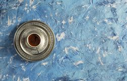 Top View Turkish Coffee on Blue Background. Delicious Top View Turkish Coffee on Blue Background Royalty Free Stock Photos