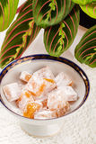 Top view of Turkish delight rahat lokum Stock Photography