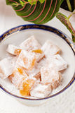 Top view of Turkish delight rahat lokum Stock Images