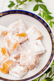 Top view of Turkish delight rahat lokum Royalty Free Stock Image