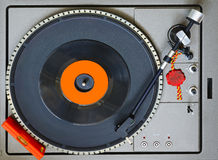 Top view of a turntable. With level bubble and a 45 RPM vinyl Royalty Free Stock Photography