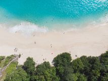 Top view of turquiose water, sandy beach and trees stock image